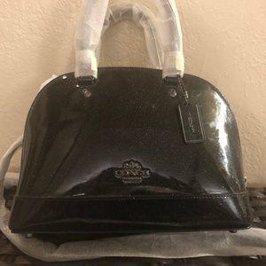 NWT! Coach Black Glitter Leather Mini Sierra Bag!